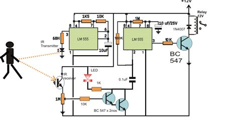 Time Delay Relay Wiring Diagram With Sensor by Simple Proximity Detector Circuit Using Ic555 Ece Eee