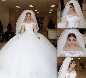 long sleeves ball gown wedding dresses 2017 puffy off the With wedding dresses not puffy