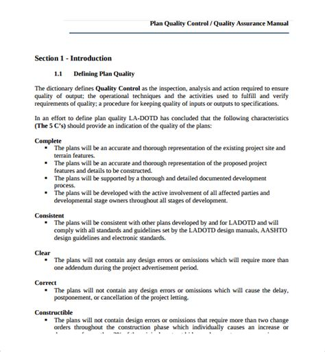 Mortgage Quality Plan Template by 9 Quality Plan Templates Sle Templates