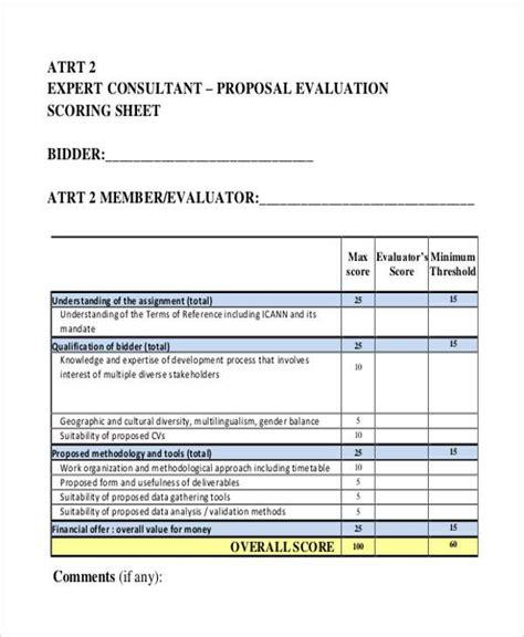 proposal evaluation form samples  sample