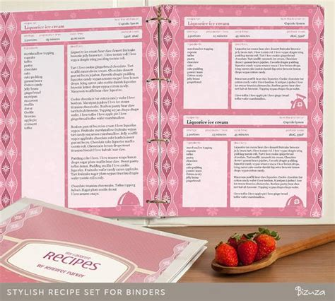 recipe binder set printable recipe pages binder cover