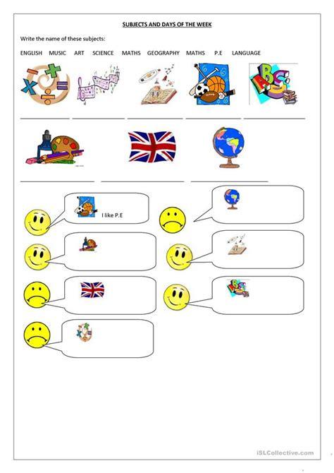 subjects   school  days   week worksheet