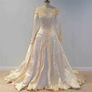 1940s 40s wedding dress ivory cream duchess satin full length With 40s wedding dress