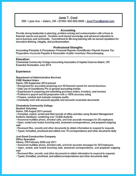 Undergraduate Accounting Resume by Best 25 Student Resume Ideas On