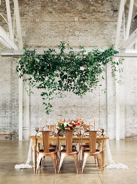 hanging greenery installations   wedding brides
