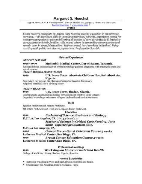personal profile for nursing resume resume profile sles resume cv cover letter free resumes exles profile experience