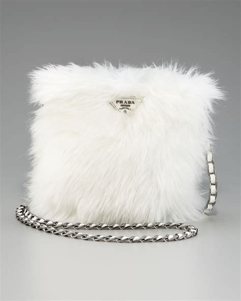 prada eco pelliccia faux fur satchel  pink lyst