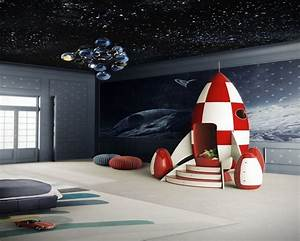 Galaxy Themed Boys Bedroom Adhesive Tile Wallpaper