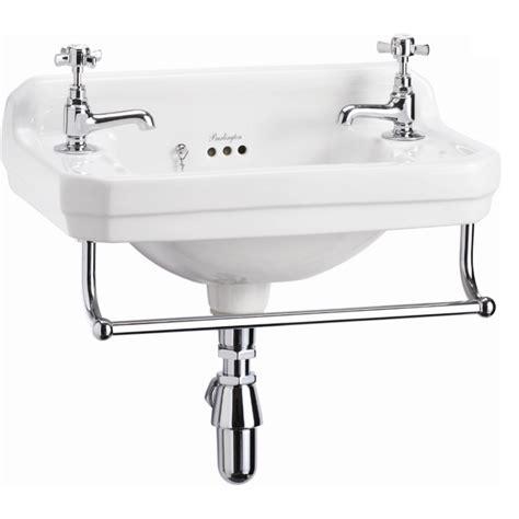 wall mounted basin sink burlington edwardian cloakroom basin towel rail wall