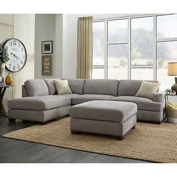 sinclair fabric sectional  ottoman