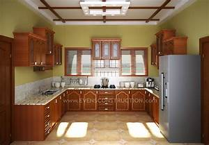 evens construction pvt ltd kerala kitchen with wooden With interior design for kitchen in kerala