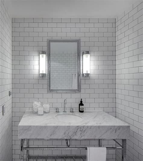 White Subway Tile Grey Grout with Light