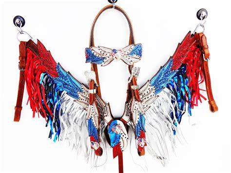 foto de Handmade Angle Wings Red White & Blue Silver Fringe Bling