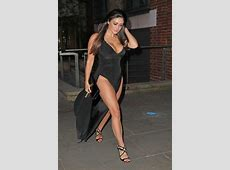 casey batchelor in black dress on a night out in london