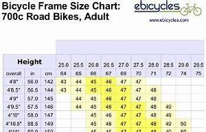 Bicycle Tire Size Chart Frame Size Chart For Road Bicycles Bicycle Frame Size