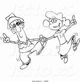 Dancing Coloring Cartoon Couple Swing Outline Vector Leishman Ron Square 1024 Discover Lukas sketch template
