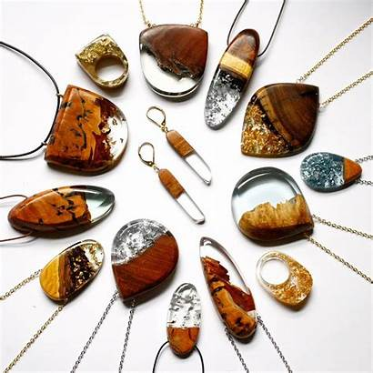 Resin Wood Jewelry Leaf Gold Silver Clear