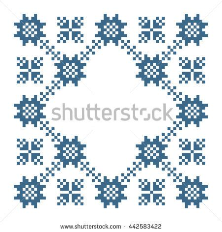 floral cross forms cross stitch flower pattern floral frame stock vector