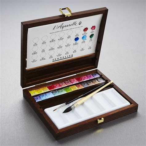water color set sennelier watercolour wooden box set of 24 half pans