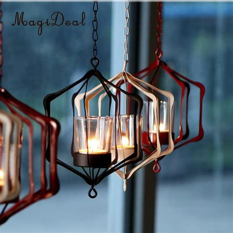 iron wire hanging 3d geometric tealight candleholder case