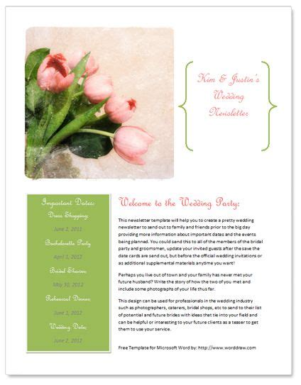 bridesmaid newsletter template free wedding newsletter template http www worddraw wedding newsletter template html free