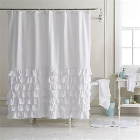 lc lauren conrad ella ruffle fabric shower curtain bathroom pinterest ruffle fabric bath