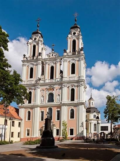 Lithuania Vilnius Churches Church Town Looking Baroque