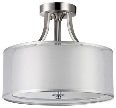 brushed nickel 2 drum shades semi flush mount
