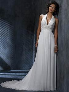 chiffon v neck halter a line wedding dress with open back With halter a line wedding dress