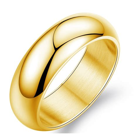 gold color ring men women gift wholesale 7mm wide classic