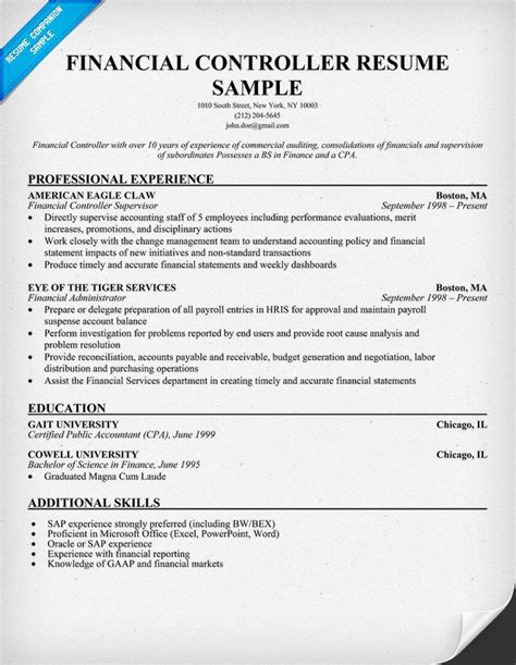 Assistant Controller Resume Sles by Financial Controller Resume Resume Sles Across All Industries Resume