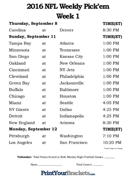printable nfl week  schedule pick em office pool