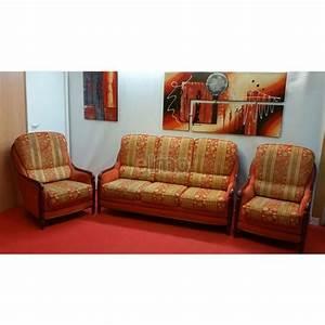 Ensemble Salon Canap 2 Fauteuils Tissu Boiserie Apparente