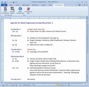 import outlook calendar into excel and word With outlook meeting minutes template