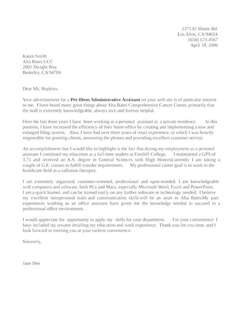 time assistant cover letter per diem administrative assistant cover letter sles and