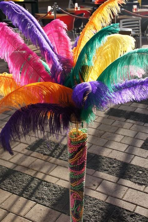 oversized carnival feathers beads  tall vase