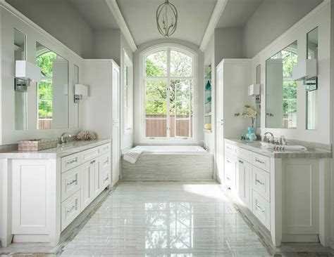 White Master Bath With Whitewashed Plank Ceiling And Gold