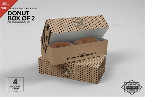 Find & download free graphic resources for pasta mockup. Box of 2 Donut / Pastry Box Packaging Mockup by ...