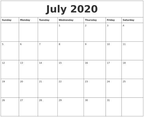 july  cute printable calendar