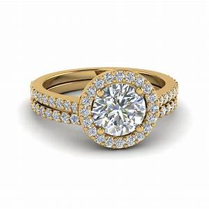 round cut double band halo diamond wedding ring sets in With 18k yellow gold wedding ring sets