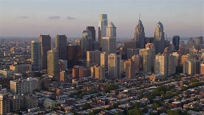 Aerial Philadelphia Skyscrapers Downtown Pennsylvania Footage Approaching