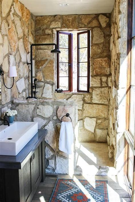 small rustic cottage bathroom tz   brick