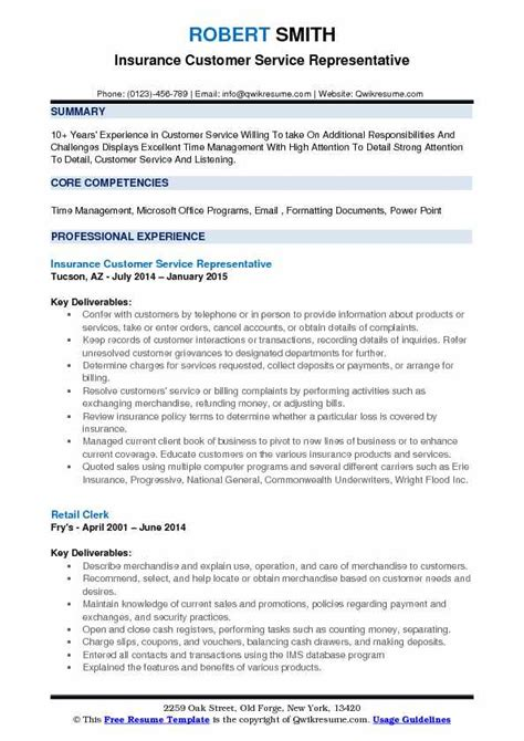 insurance customer service representative resume sles