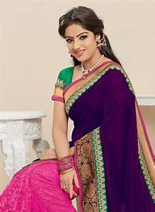 Buy Purple and pink embroidered georgette saree Online