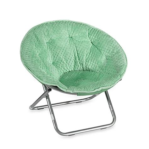 buy dotted plush saucer chair green  bed bath
