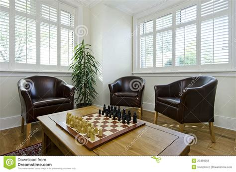 study room  leather armchairs  chess board stock