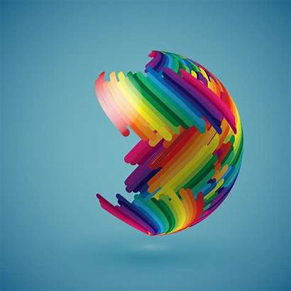 Colorful Globe Vector Illustration Realistic Surface Shaded