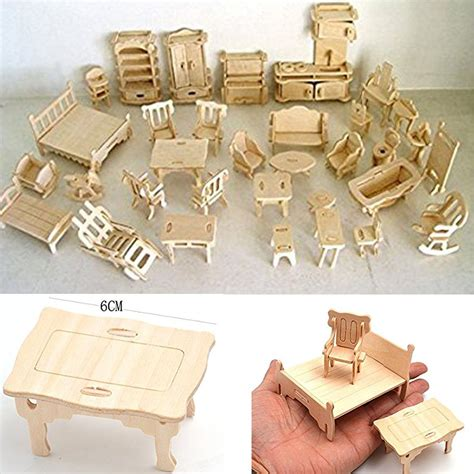 wooden dollhouse furniture miniature lot kit set mini