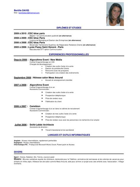modele de cv secretaire de direction cv assistante de direction
