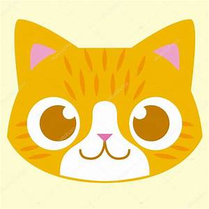 Cartoon Adorable Cat Face Isolated Illustration — Stock ...